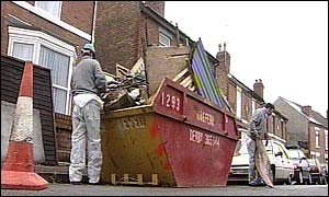 Skip full of rubbish from garden