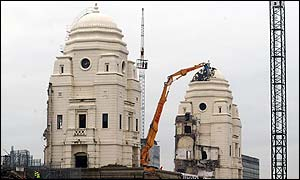 Wembley's twin towers are being demolished
