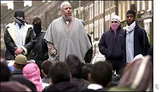Abu Hamza outside Finsbury Park Mosque