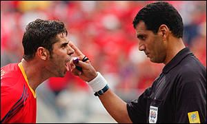 Spain's Fernando Hierro making a complaint to El Ghandour at World Cup 2002