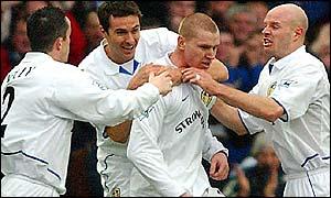 From left: Gary Kelly, Paul Okon, Seth Johnson and Danny Mills celebrate Leeds' goal against West Ham