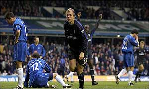 Chelsea's Eidur Gudjohnsen scores in the win over Birmingham