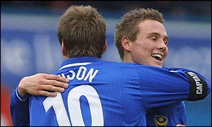 Paul Merson and Matthew Taylor enjoy Portsmouth's success