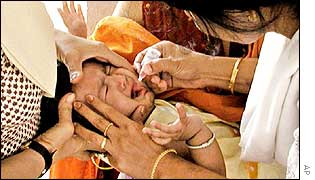 Indian child vaccinated against polio