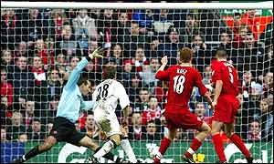 John Arne Riise equalises for Liverpool in the 1-1 draw with Middlesbrough