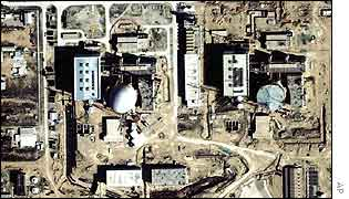 Aerial view of Iran's first nuclear reactor (Bushehr)