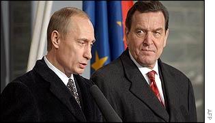 Vladimir Putin with German Chancellor Gerhard Schroeder on Sunday