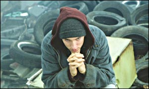 Rapper Eminem in the film 8 Mile