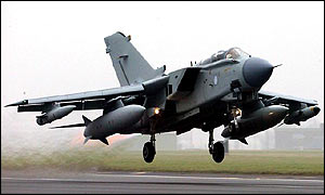 A Tornado GR4 from the Royal Air Force takes off from RAF Marham in Norfolk