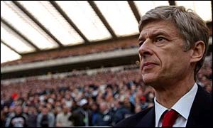 Arsenal boss Arsene Wenger watches his team in action at Newcastle