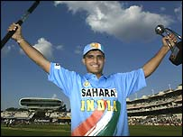 Sourav Ganguly celebrates winning the final of the Nat West one-day series final