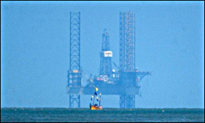 An oil rig off the coast of Great Yarmouth, UK
