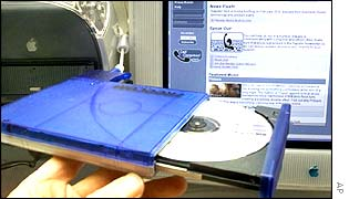 CD in front of file sharing website