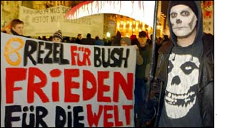 An anti-war protestor in Germany 