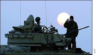 US soldiers on a military exercise in Kuwait