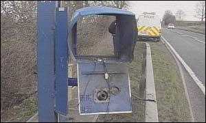 The blown up speed camera at Thrapston