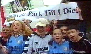 Port Vale fans protesting against a ground share
