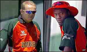 Andy Flower (l) and Henry Olonga (r)