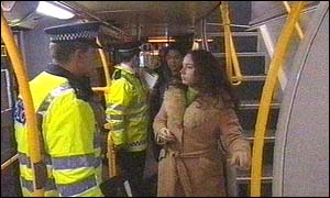 Police interview bus passengers