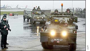 Soldiers patrol Heathrow
