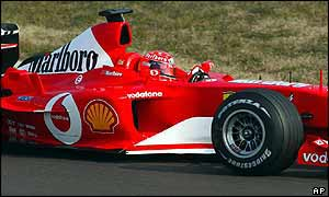 Michael Schumacher in action on Ferrari's test track