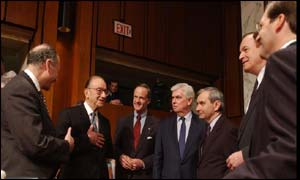 Alan Greenspan meets Senators