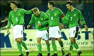 NI midfielder Gavin Melaugh (No 6) scored his side's first goal against Finland