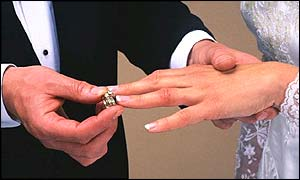 Bride receives her wedding ring