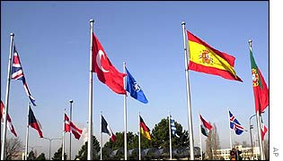 Flags flying outside Nato headquarters