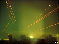 Tracer fire lights up Baghdad skyline at start of Operation Desert Storm