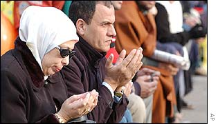 Muslims pray in Cairo
