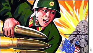 A North Korean soldier holds shells to blow up Capitol Hill in a North Korean poster