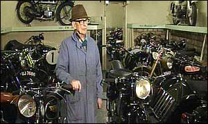 Mr Geeson in his small motorbike museum in South Witham