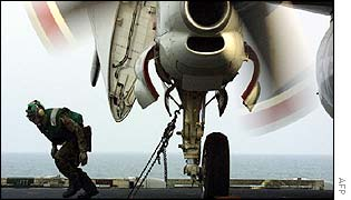 US navy plane prepares to launch in the Gulf
