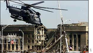 The Pentagon after being attacked on 11 September 2001