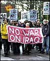 Anti-war protestors outside British Armed Forces HQ, Northwood, London