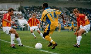 Gift Kampamba playing for his club Rostselmash in Russia