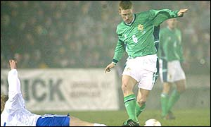 Northern Ireland skipper Steve Lomas in action against Finland at Windsor Park