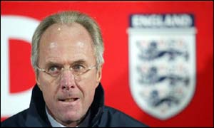 Sven-Goran Eriksson watches anxiously at Upton Park