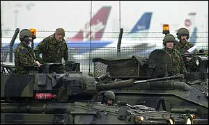Troops at Heathrow, 12 February
