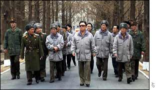 North Korean leader Kim Jong-Il with his military officials