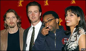 Barry Pepper, Edward Norton, Spike Lee and Rosario Dawson