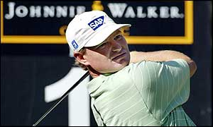 Ernie Els tees off at the first hole during his first round