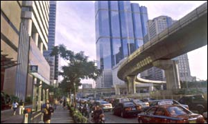 Bangkok's busy city business district