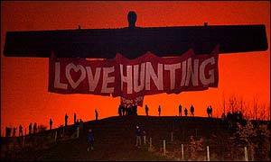 Hunting banner draped over the Angel of the North