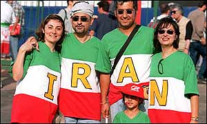 Iran fans cheer on their team