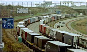 Lorries on the M20