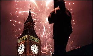 Millennium fireworks in London