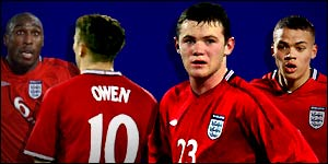 England stars (from left): Sol Campbell, Michael Owen, Wayne Rooney and Jermaine Jenas