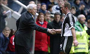 Sir Bobby Robson (left) and Alan Shearer